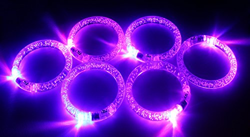 12 Pack of Flashing LED Clear Light Up Bracelets for Parties, Events, Functions, Celebrations