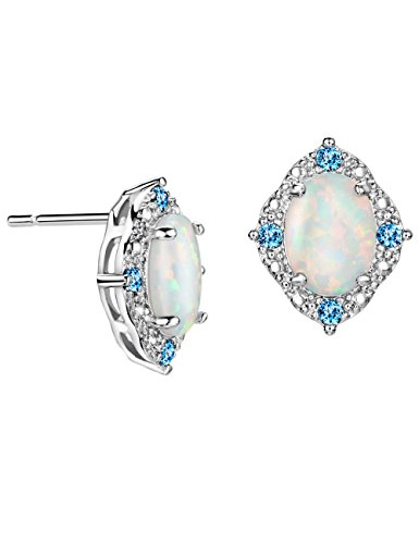 Opal Stud Earrings Vintage Cubic Zirconia October Birthstone Gemstone Jewelry for (Opal Vintage Earrings)