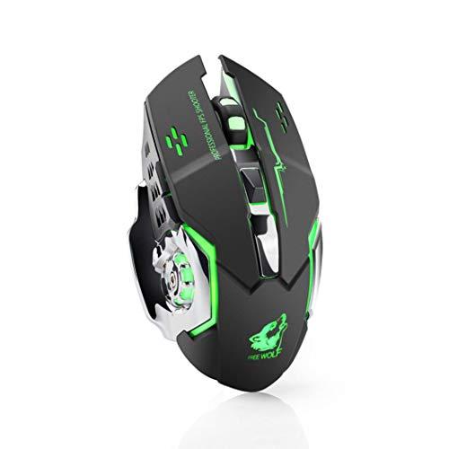 1800DPI Avago Pro-Gmaing Sensor Ergonomic Gaming Mouse, Rechargeable X8 Wireless Silent LED Backlit USB Optical Mouse (Black) ()