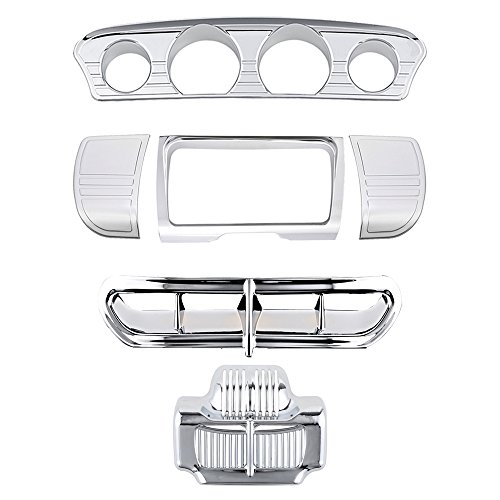 Line Stereo Side Panel Center Gauge Trim + Fairing Accent + Oil Cooler Covers for Harley Electra Street Glide (Chrome) ()
