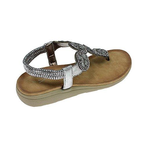 Lunar Dulcie, Mesdames Empierrées Toe Post, Sandale De Flip Flop Pour Le Bracelet Argent Cheville 5 Silver