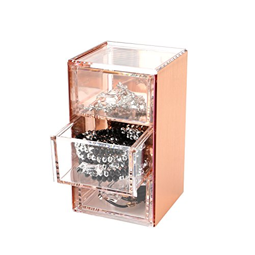 - Moosy Life Rose Gold Acrylic Desk Organizer, Jewelry Box, 3 Drawers