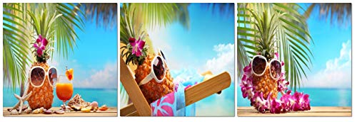 FUNHUA Pineapple with Sunglasses and Garland Paintings Canvas Wall Art for Bathroom Restaurant Wall Decor Fruits Canvas Prints with Wooden Frame ()