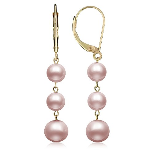 (14k Yellow Gold Pink Cultured Freshwater Pearl Trio Dangle Drop Earrings)