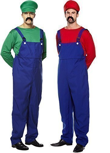 Mens Couples Adult Super Mario AND Luigi Plumber 80s Videogames TV Film Fancy Dress Party Costumes Outfit by Fancy (The 80s Outfits)