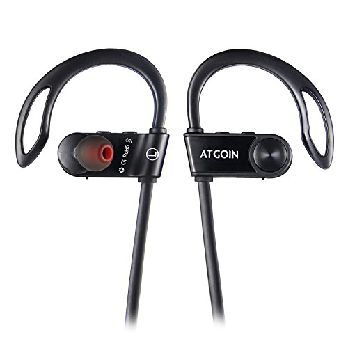 ATGOIN Bluetooth Headphones, Wireless 4.1 Earbuds Stereo Earphones, Noise Cancelling Sweatproof Headset Secure Fit for Sports with Built-in Mic