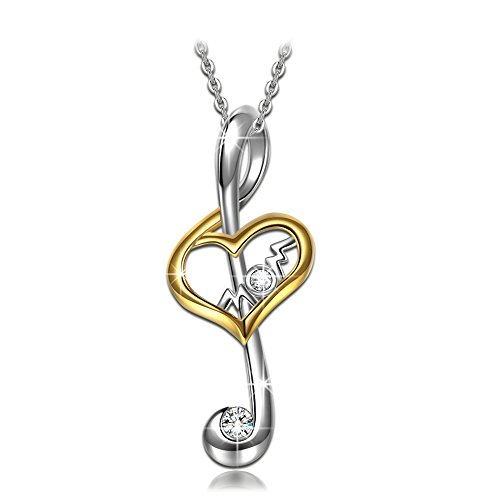 Mothers Day Gifts for Mom S925 Sterling Silver Necklace NINASUN Sing for Mom CZ Pendant Women Jewelry Birthday Christmas Anniversary Gifts for Women Wife Grandmother Girlfriend Sister Daughter