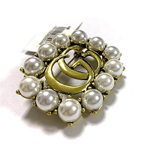Brooches for Women,YIAI Crystal Designer Brooches Pins for Women Brand Classic Double Row Drill G Needle (white)