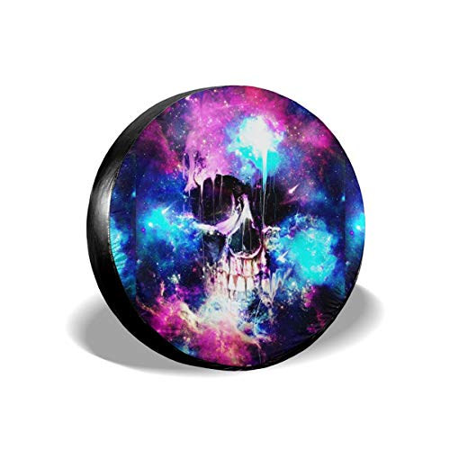 JustForU Spare Tire Covers Galaxy Skull Space Storm Waterproof Polyester Wheel Protectors Universal for Jeep Trailer RV SUV Truck Camper (14,15,16,17 Inch)