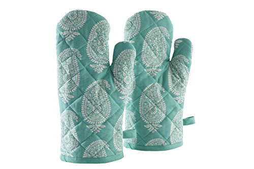 Amazon-Brand-Solimo-100-Cotton-Padded-Oven-Gloves-Paisley-Pack-of-2-Blue