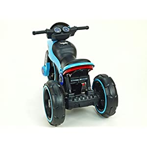 Ride-on Toys on Electric Police Tricycle Bike 6v Motor Aux Plug for Music, Blue, 29 x 16