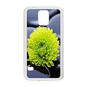 Sexyass Stone Samsung Galaxy S5 Cases Black Zen Stones and a Yellow Mum Cheap for Girls, Case for Samsung Galaxy S5, [White]