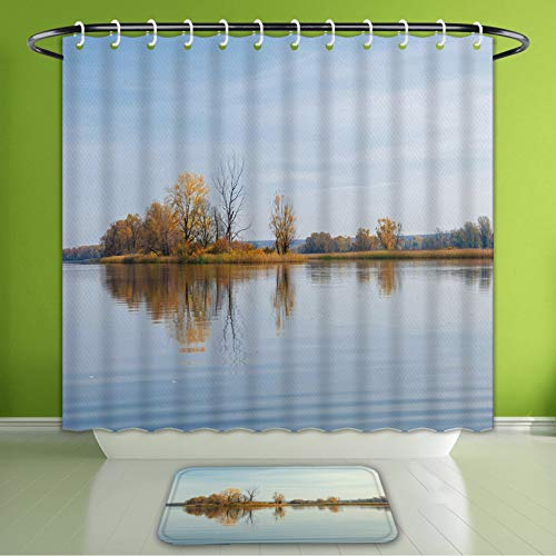 Waterproof Shower Curtain and Bath Rug Set Collection Small Island On A Lake with Some Autumn Trees Reflecting to The Calm Bath Curtain and Doormat Suit for Bathroom Extra Long Size 72