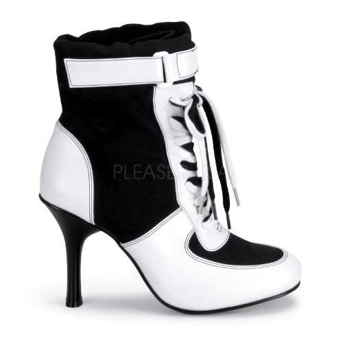 Pleaser Women's Referee Blk Canvas/wht Pu Sport Boot, 3 3/4 Inch Black Canvas-white Pu 10 (Boots Adult Referee Black)