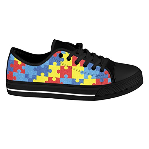 Gnarly Tees Women's Autism Awareness Shoes, Low Top, Black, Size 7.5 by Gnarly Tees