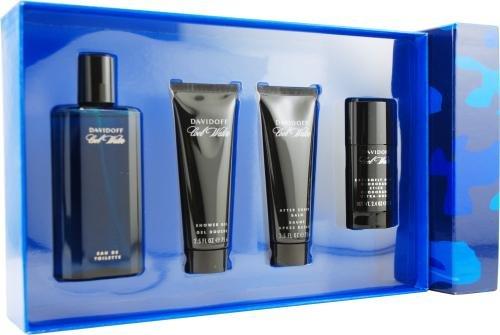 Cool Water by Davidoff for Men. Set-Eau De Toilette Spray 4.2-Ounces & Aftershave Balm 2.5-Ounces & Shower Gel 2.5-Ounces & Deodorant Stick 2.4-Ounces