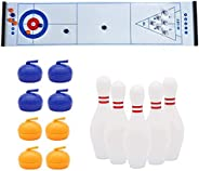 Sports Game 3 in 1 Set, Tabletop Shuffleboard Curling Game and Bowling Board Games, Mini Family Interactive Ga