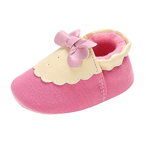 NUWFOR Baby Girl Soft Booties Snow Bow Floor Shoes Prewalker Warm Shoes Princess Shoes(Pink,6-12Months)