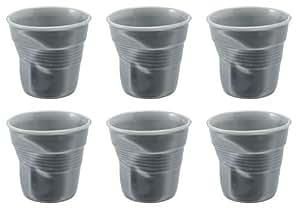 Revol - Vaso de café con diseño arrugado (8 cl, porcelana), color gris