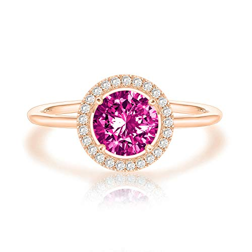 Swarovski Crystal 14K Rose Gold Plated Birthstone Rings | Rose Gold Rings for Women | Amethyst Ring Amethyst Ladies Fashion Gold Ring