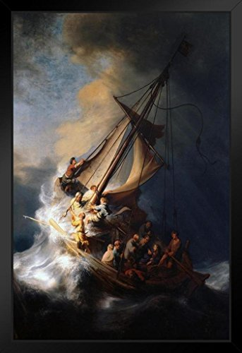 Rembrandt The Storm On The Sea of Galilee Art Print Framed Poster 14x20 -