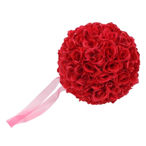 Z ZTDM 10 Inch Artificial Romantic Rose Flower Ball for Home Outdoor Wedding Party Centerpieces Decorations (10PIECE, Wine (Rose Wedding Centerpiece)