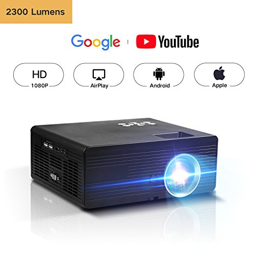 DOACE Video Projector Indoor Outdoor with Portable Projector Screen 100″, Home Theater Projector Support USB SD Card VGA AV for Home Cinema TV Laptop Game Smartphone with Free AV Cable