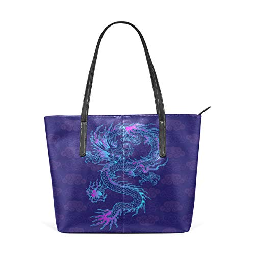 (Women Leather Handbags Purple Chinese Dragon Top Handle Shoulder Bags)