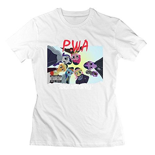 Vintage PWA Rainbow Straight Outta Pony Ville Compton Women's T-shirt White Size XS (2015 Rainbow Vacuum compare prices)