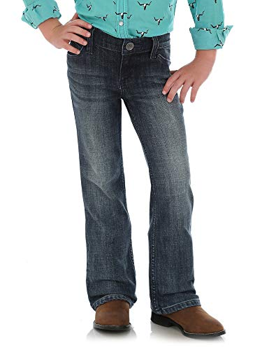 Wrangler Girls' Little Western Boot Cut Jean, Mid Blue, 7 REG -