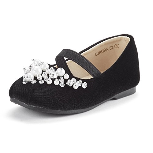 Black Suede Flats Shoes - DREAM PAIRS Toddler Aurora-03 Black Girl's Mary Jane Ballerina Flat Shoes Size 6 M US Toddler