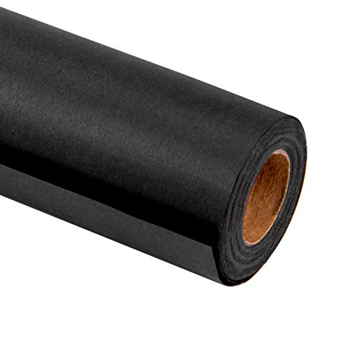 RUSPEPA Black Kraft Wrapping Paper - 81.5 Sq Ft Heavyweight Paper for Wedding,Birthday, Shower, Congrats, and Holiday Gifts - 30Inch X 32.8Feet Per Roll (Gloss Gift Wrap Wrapping Paper)