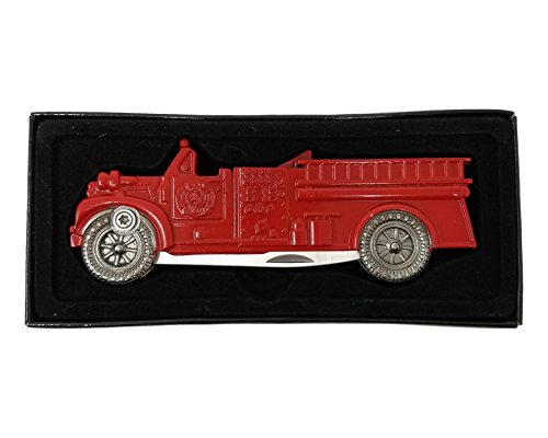 Firefighter Knife - Antique Fire Truck Pocket Knife Design, Functional, Cool Appreciation for the Fireman in your - Antiques Department Fire