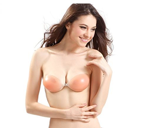 Silicone Alley, Sexy Invisible Strapless Push-Up Bra/Nude Clear Transparent Seamless Backless Silicone Low Cut Magic Reusable/for Women Cup B