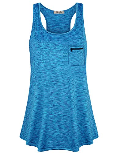 (Hibelle Yoga Shirts for Women, Loose Fitting Workout Tank Tops Summer Spandex Excercise Racerback Scoop Neck Sleeveless Tshirts Dry Fit Turquoise Running Flowy Tanks Teal XL)