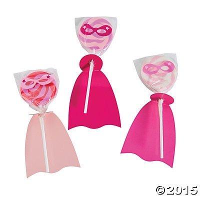Sucker Covers Craft (Pink Superhero Suckers Lollipops - 12 ct)