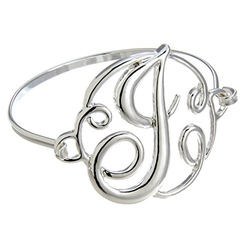 itial J Bangle Bracelet (Monogram Initial Bracelet)