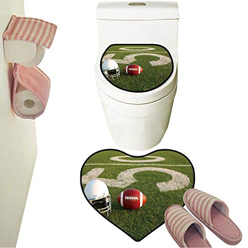 Rug Toilet Sets American Football and Helmet on The Field with The Fifty Yard Line in The Background Contour Toilet Mat and Carpet Mat