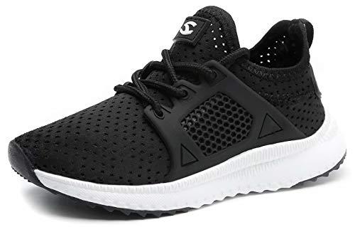 (HOBIBEAR Boys Girls Slip on Sneakers Lightweight Breathable Mesh Athletic Running Shoes C-Black)