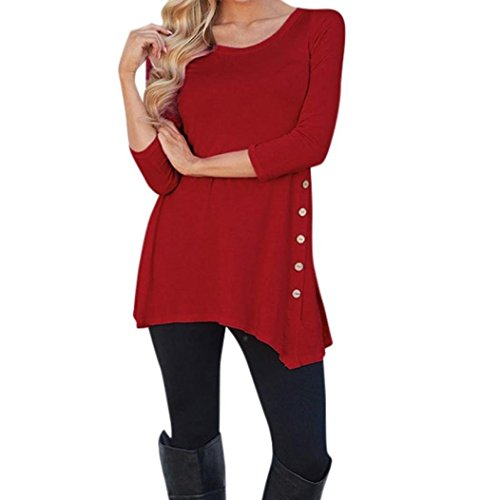 2018 Women Long Sleeve Loose Button Trim Blouse Solid Color Round Neck Tunic T-Shirt by Topunder (Red, (Silk Jersey Surplice Dress)