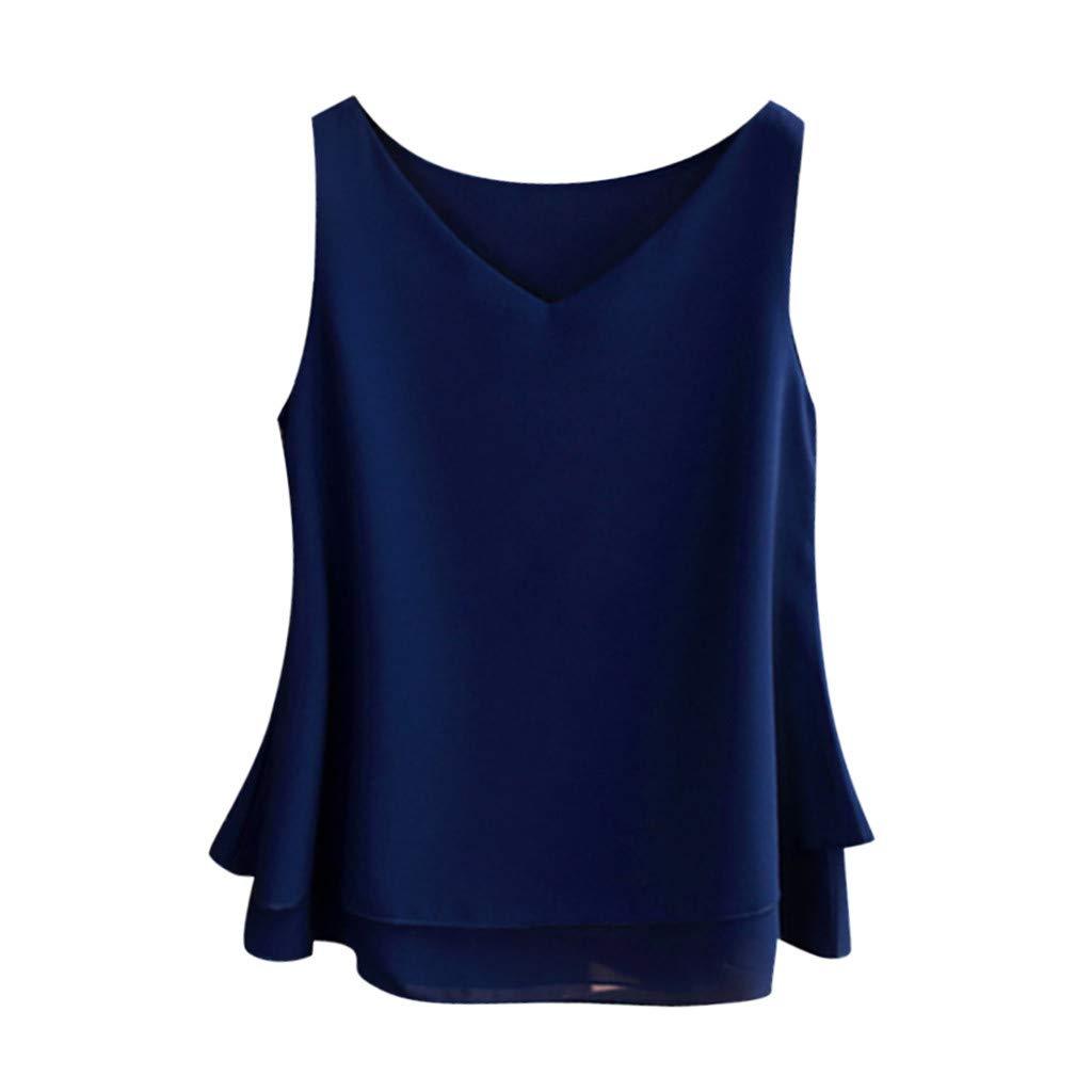 Keliay Womens Tops for Summer,Women's Summer Sleeveless Chiffon Shirt Solid V-Neck Casual Blouse Top Blue