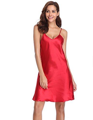 Vlazor Women Nightdress Satin Nightshirts Sexy Negligee Strap Nightgown Chemise Slip with Deep V ()