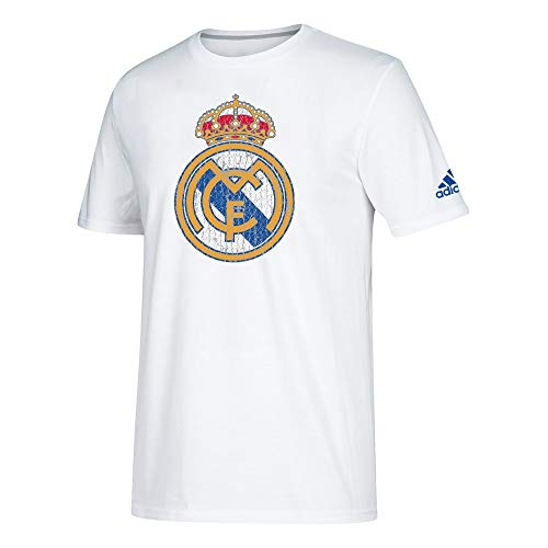 adidas Real Madrid C.F. La Liga Men's White Team Crest Climalite Performance T-Shirt (X-Large)