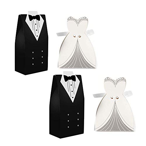 (Leoyoubei Party Favors Couple Candy Boxes 100 PCS Cake Boxes with Gift Ribbons for Bridal Shower Wedding Party Favor Party Decoration Easter (Black/White))