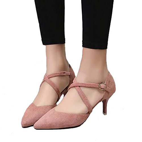 ANDAY Elegant Women Lady Suede Cross Strap Stiletto High Heels Sandals Pumps For Wedding Party Celebrity Wear Pink MFHK4
