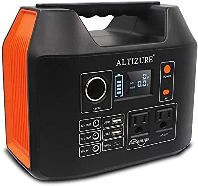 ALTIZURE Portable Power Station Portable Power Generator Solar Generator 300W/80000mAh/298Wh Pure Sine Wave Home/Outdoor Camping/Disaster Prevention Emergency,with AC/DC/USB/Type-C,LED Light