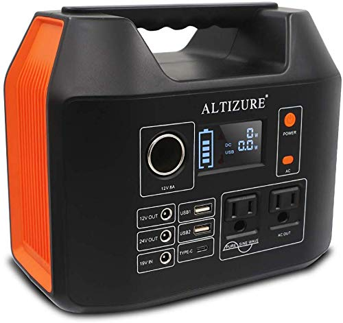 ALTIZURE Portable Power Station Portable Power Generator Solar Generator 300W 80000mAh 298Wh Pure Sine Wave Home Outdoor Camping Disaster Prevention Emergency,with AC DC USB TYPE-C,LED Light,SOS Flash