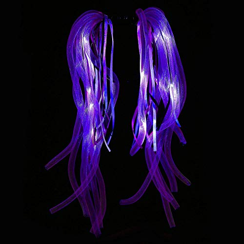 Fun Central AH932, 1 Pc, 7.5 Inches, Purple LED Light Up Party Dreads, LED Light Up Headband, Light Up Hair, Dread Hair, Dreads Wig, Glow Headwear ()