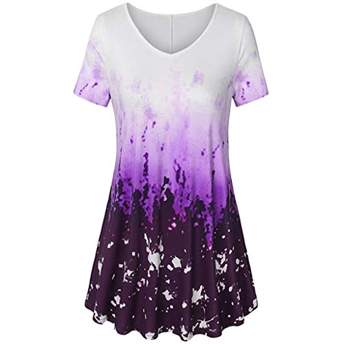Aniywn Women Plus Size Tie Dye Short Sleeve T-Shirt V-Neck Flare Pleated Blouse Tops Summer Loose Purple