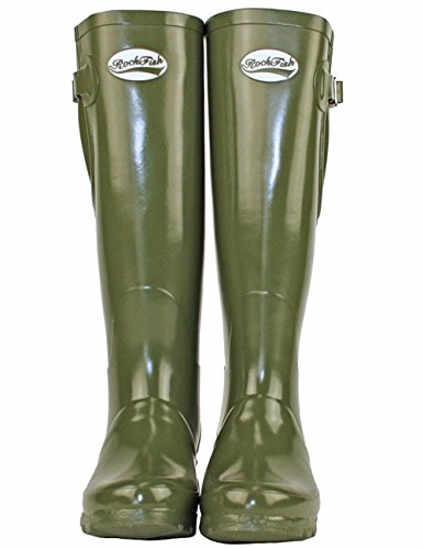 Gloss Olive Tall Wellies Dark Adjustable UK4 Rockfish qFtXawPWgW
